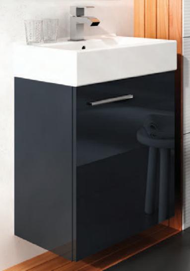 Modernistyczne Szafka łazienkowa czarna 44x30 cm + umywalka Tiny Elita 165794 GL83